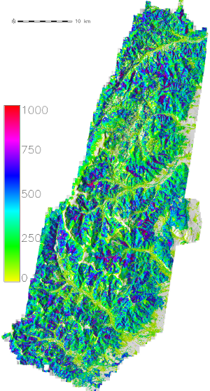 Volume map in the Vosges area